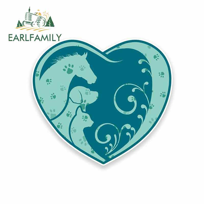 EARLFAMILY 13cm x 13cm Horse Dog Cat Heart Paw Print Personality Stickers Anime Waterproof
