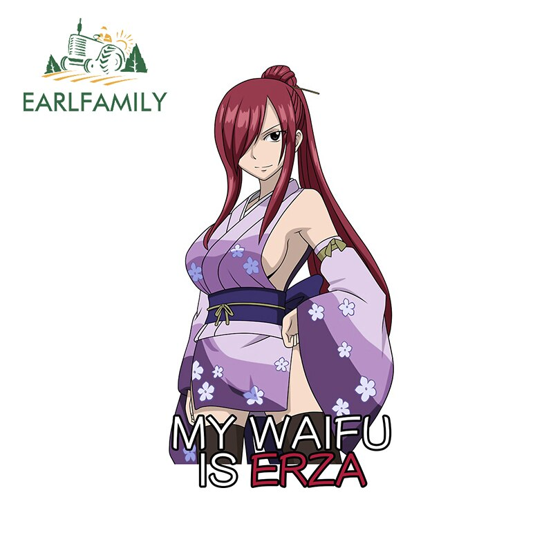 EARLFAMILY 13cm x 7.2cm For Anime Inspired Waifu Fine Decal Vinyl Material Car Stickers