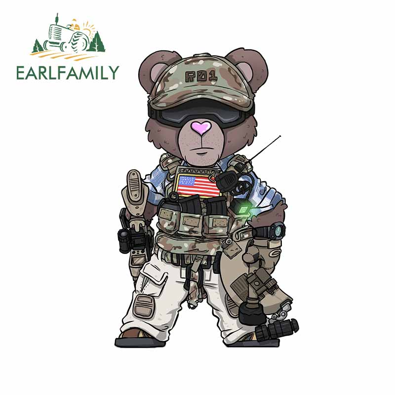EARLFAMILY 13cm x 8cm for Bear Soldier Uniform Decal Personality Cartoon Car Stickers