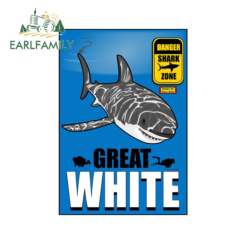 EARLFAMILY 13cm x 9.8cm for White Shark Funny Car Stickers DIY Anime Personality Creative