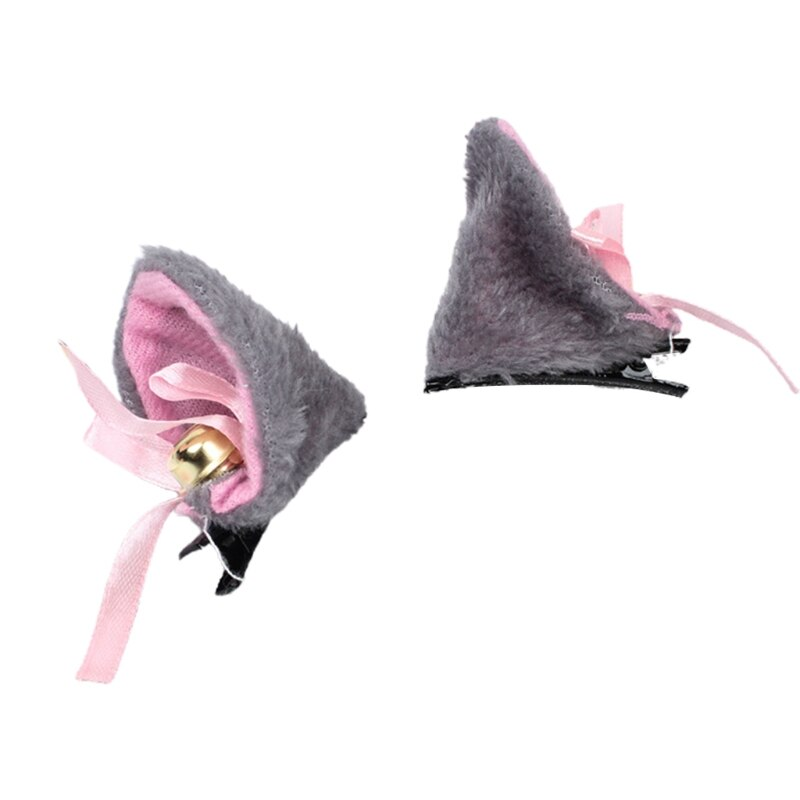 Ears Cosplay Hair Clips with Bell Bowknot Anime Lolita Fluffy Plush Hairpins X7YA