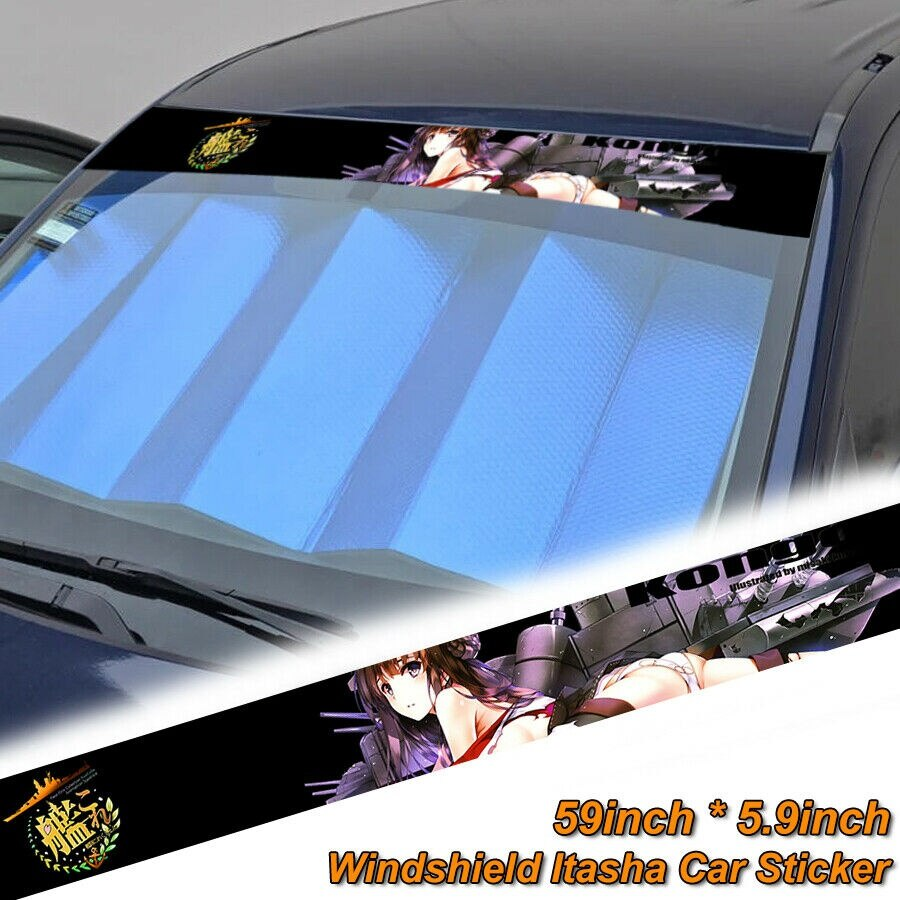 """For 59"""" Anime Kantai Collection Strip Printed Windshield Car Vinyl Stickers Decal"""