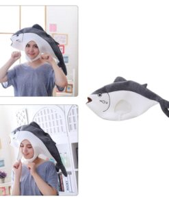 Funny Japanese Anime Salted Fish Plush Hat Stuffed Toy Headgear Cosplay Props 649C