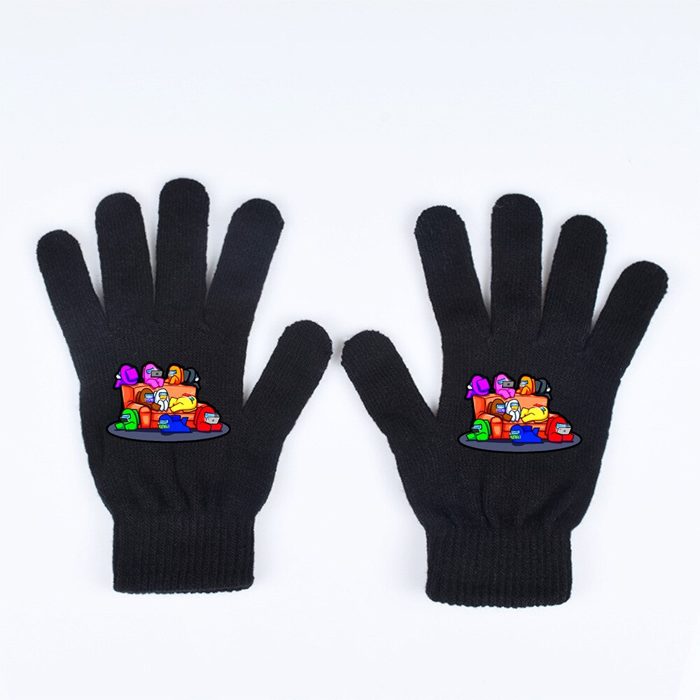 Cartoon Cosplay Gloves Anime Black Adults Game 9-Types Choose Cold Warm Among Us Winter