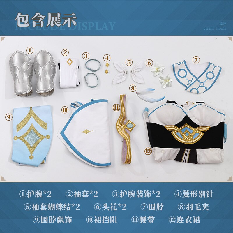 Anime Suit Dress Genshin Impact Lumine Cosplay-Costume Halloween Outfit Custom-Made Lovely
