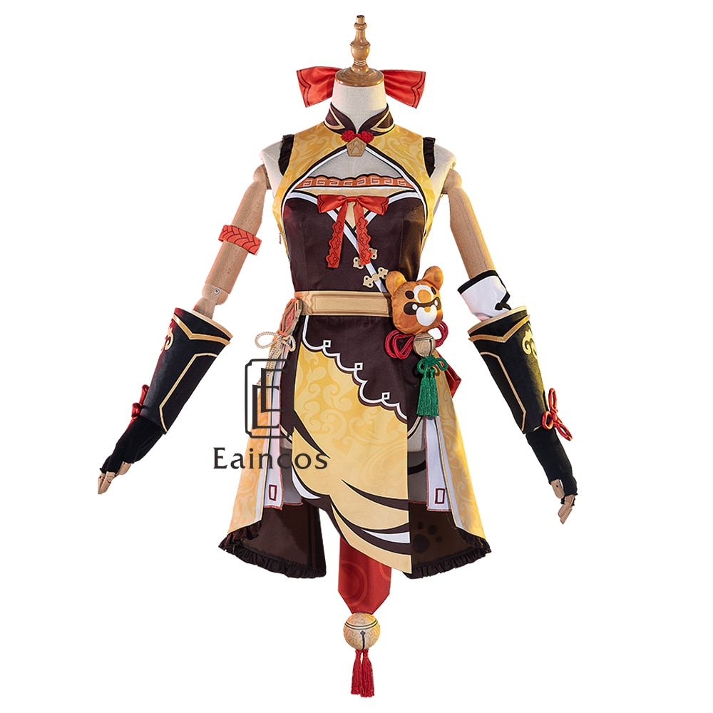 Xiangling Cosplay Dress Costume-Wigs Party-Outfit Halloween Genshin Impact Custom-Made