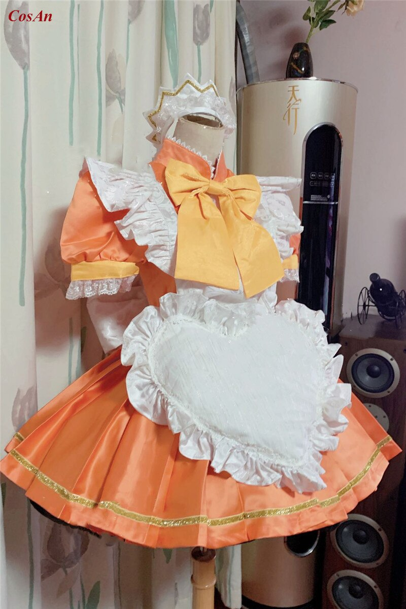 Maid Outfit Mew Mew Tokyo Role-Play Clothing Custom-Make Orange Anime Party Activity