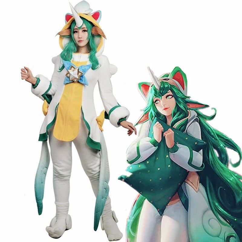 Soraka Cosplay Costume Outfit Jumpsuit Collectible Guardian Anime Girl Adult Woman Game