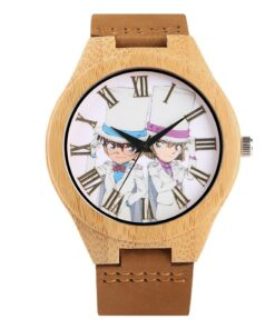 Hot Japanese Anime Character Display Bamboo Wood Watch Brown Genuine Leather Wristwatch