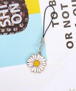 Hot Sales 1 Piece High Quality Metal Anime Sunflowers Daisy Mobile Phone Strap With Pendant