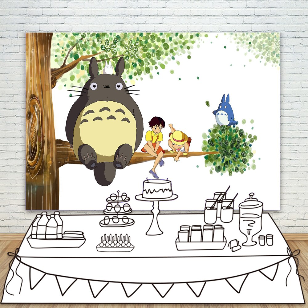 Photography Backdrops Banner Shower-Decorations Birthday-Party Baby Anime Totoro Cat