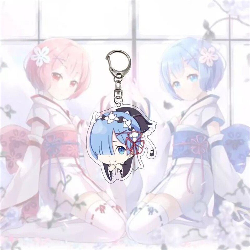 Japanese Anime Re:Life In A Different World From Zero Keychain Rem Ram Cartoon Figures