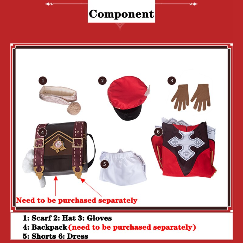 Genshin Costume Impact-Clothes Project Klee Cosplay Dress Gloves Backpack-Accessories-Set
