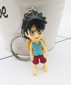One Piece Series Keychain 3D Cartoon Luffy Bag Pendant Anime Peripheral Keyring Gift