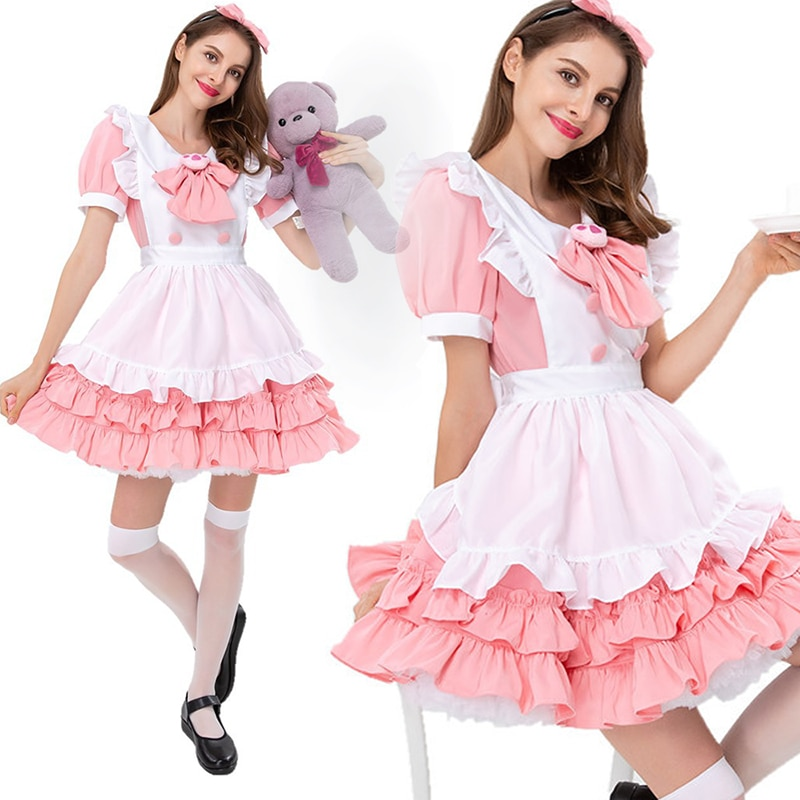 Outfit Cosplay Clothing Maid Anime-Costume Sissy Crossdress Cafe Lolita Woman Lace Skirt