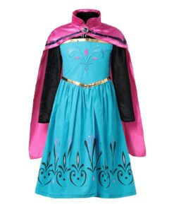 Queen Elsa Anime Dress up Costume for Girl Princess Party Anna Gown Fancy Elza Comic