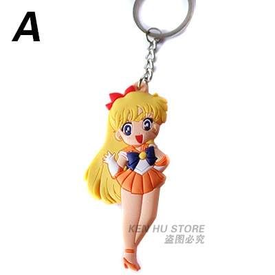 Sailor Moon Anime Cartoon Keychains Action Toy Figures Key Chain Pendant Collection Model