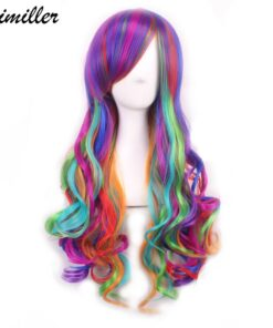 Similler Anime Cosplay Wigs for Women High Temperature Fiber Long Curly Rainbow Wig