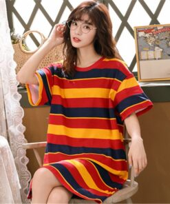 Pajamas Nightdress Sleep-Wear Home-Suit Wome Female Cotton Casual Summer Round Neck