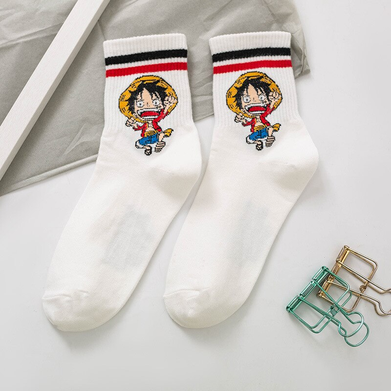 Socks Cartoon Luffy Anime Striped Cotton Summer Japanese-Style Women's Spring And New