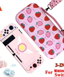Storage-Bag Joystick-Caps Game-Console-Cover Nintend-Switch Strawberry Anime Protective-Case