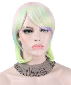 Synthetic Wigs for Women Cosplay Anime Hairs with Bangs Ombre Colorful Pink Yellow Multicolored