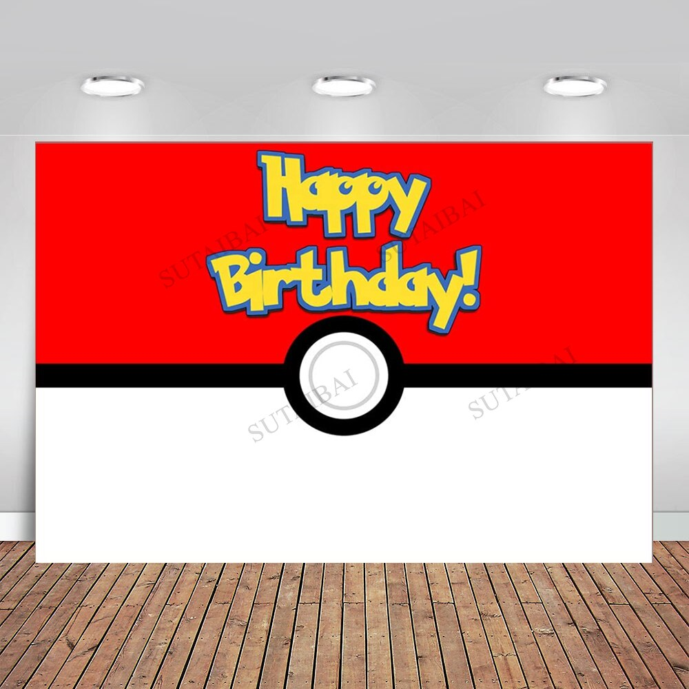 Photography Background Baby Shower Birthday-Theme Magical Ball Party Anime And Pet-Red