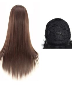 Hairpiece Synthetic-Hair Hairnet-Party-Anime Straight Long with Inner-Net Wigs Cosplay