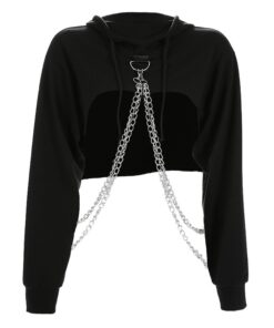 Clothing Short-Sweater Aesthetic Anime Hoodie Pullover Women's Chain Top Streetwear Sexy